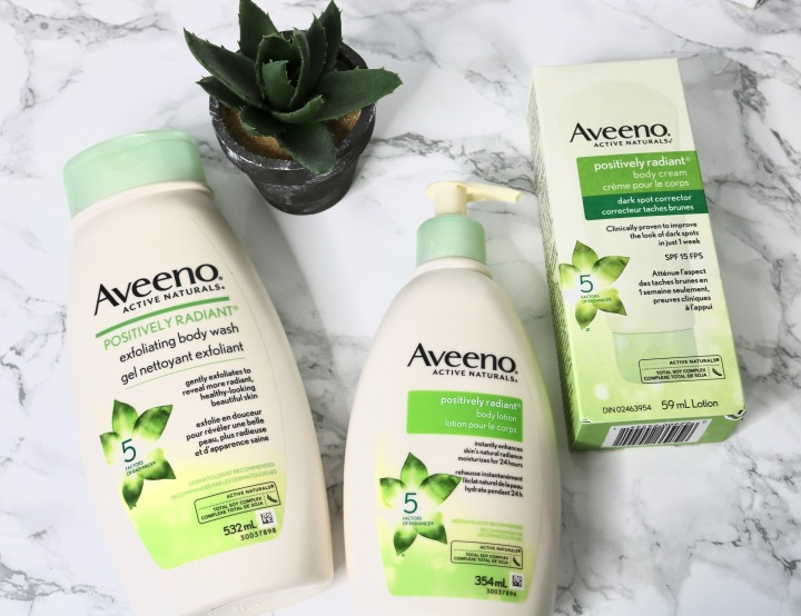 Aveeno POSITIVELY RADIANT BODY COLLECTION|| Review